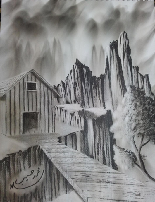 رسومات مناظر طبيعية بقلم الرصاص والفحم