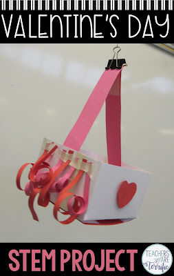 Perfect for Valentine's Day. This STEM Challenge will have your elementary students making a gift carrier to deliver a gift via zip line. #elementary #STEM