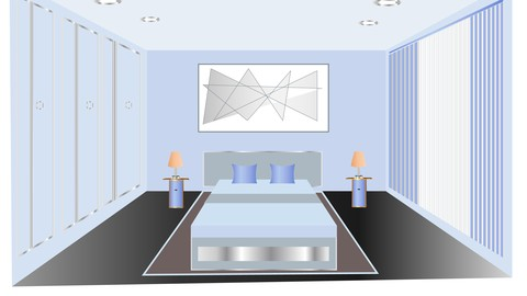 Bedroom interior design in illustrator and Photoshop