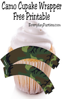 Add these printable cupcake wrappers to your party décor for a great way to spice up homemade or store bought cupcakes.  These camo cupcake wrappers are perfect for a Father's day party, a hunting party, an army party, a Nerf party, or just for a fun afternoon.
