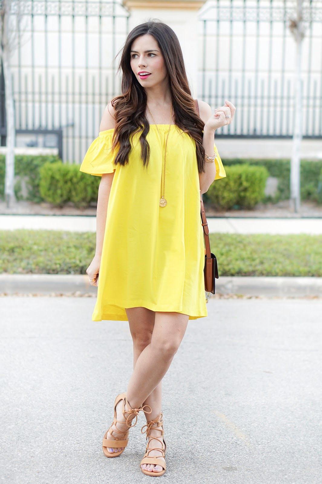 off the shoulder yellow dress  flaunt and center