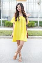 Off Shoulder Yellow Dress