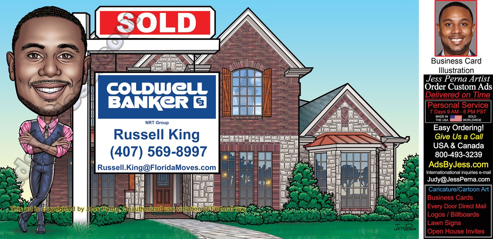 How to order ad cartoons and caricatures from a freelance order coldwell banker sold sign caricature ads reheart Gallery
