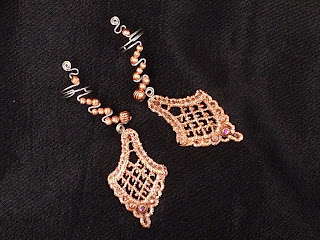 Copper Ear Cuffs with Copper on Lace drops