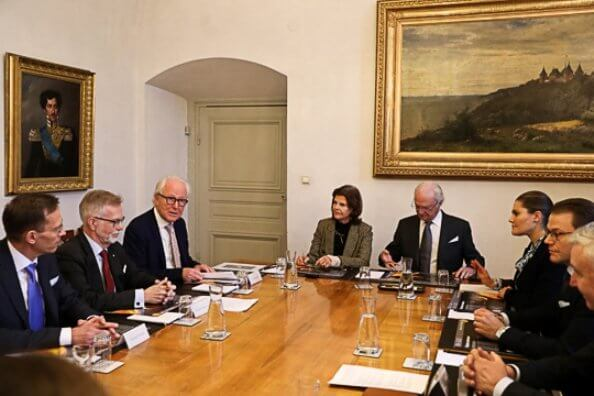 Queen Silvia, Crown Princess Victoria and Prince Daniel attended a meeting with representatives of Nobel Foundation