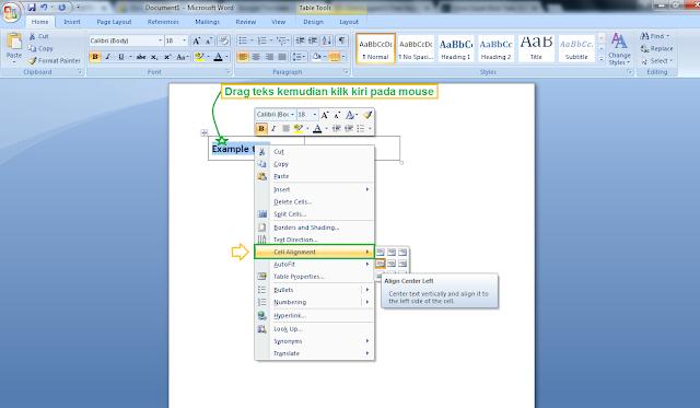 Cara mengatur posisi teks pada tabel microsoft word