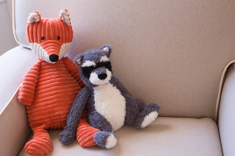 jellycat fox and racoon stuffed animals nursery
