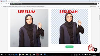 Sebelum dan sesudah menggunakan remove.bg