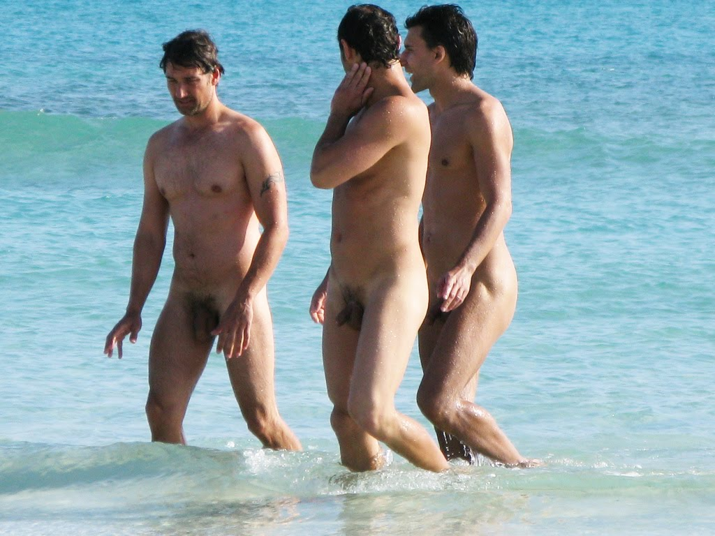 Strange Naked Man On Beach Stock Photo