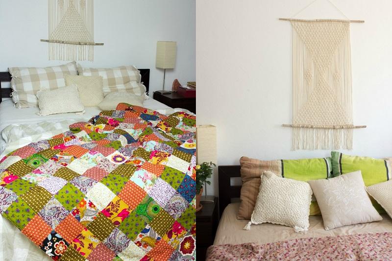 DIY und Nachhaltigkeit | Patchwork Decke und Makramee Wandteppich