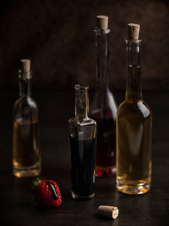 bottles of vinegar and strawberry