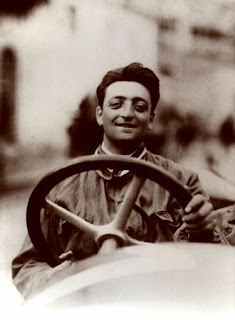 Enzo Ferrari at the wheel of an Alfa during his driving days in 1920