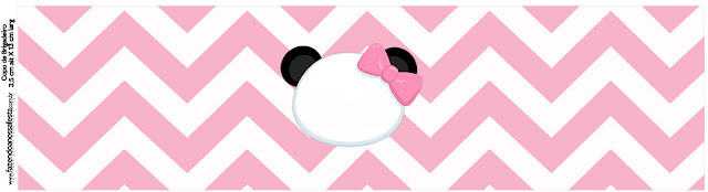 Panda Baby in Pink Chevron: Free Printable Candy Bar Labels.
