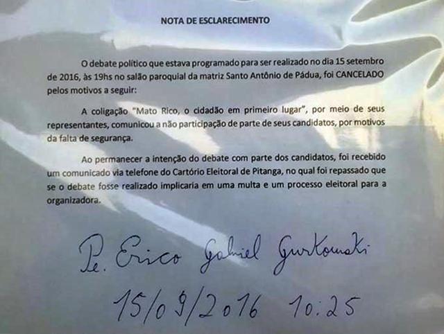 Mato Rico: Debate cancelado!!