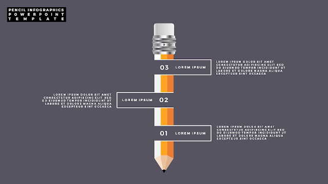 Free PowerPoint Template with Pencil Infographics and Number Option Slide 2
