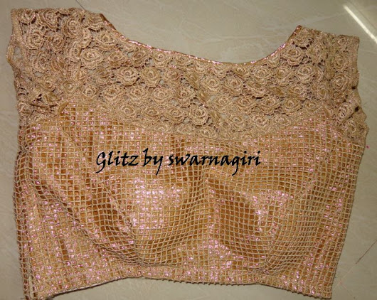 Glitz by swarnagiri - Gold color blouse with lace fabric