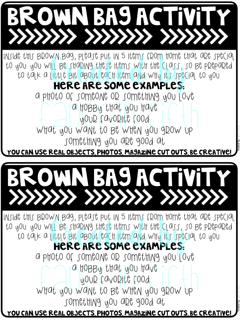 fancy in fifth first day activities the brown bag activity is always a hit in my classroom even if it is homework the kids really love getting to share about themselves and bring in some of