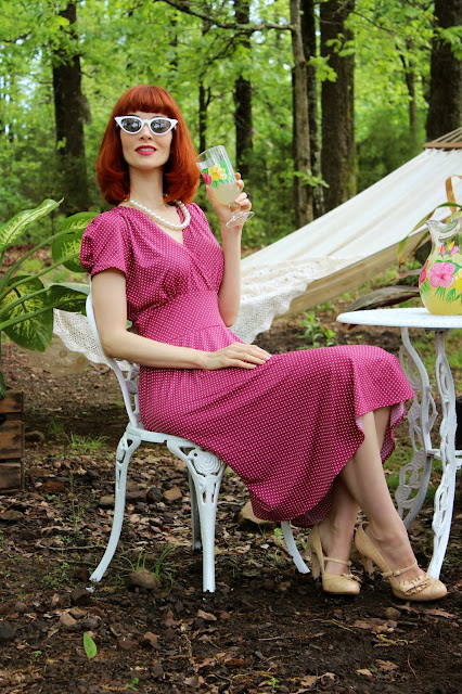 KarinaDresses Megan Dress in Sangria Dot A Day at the Beach Collection