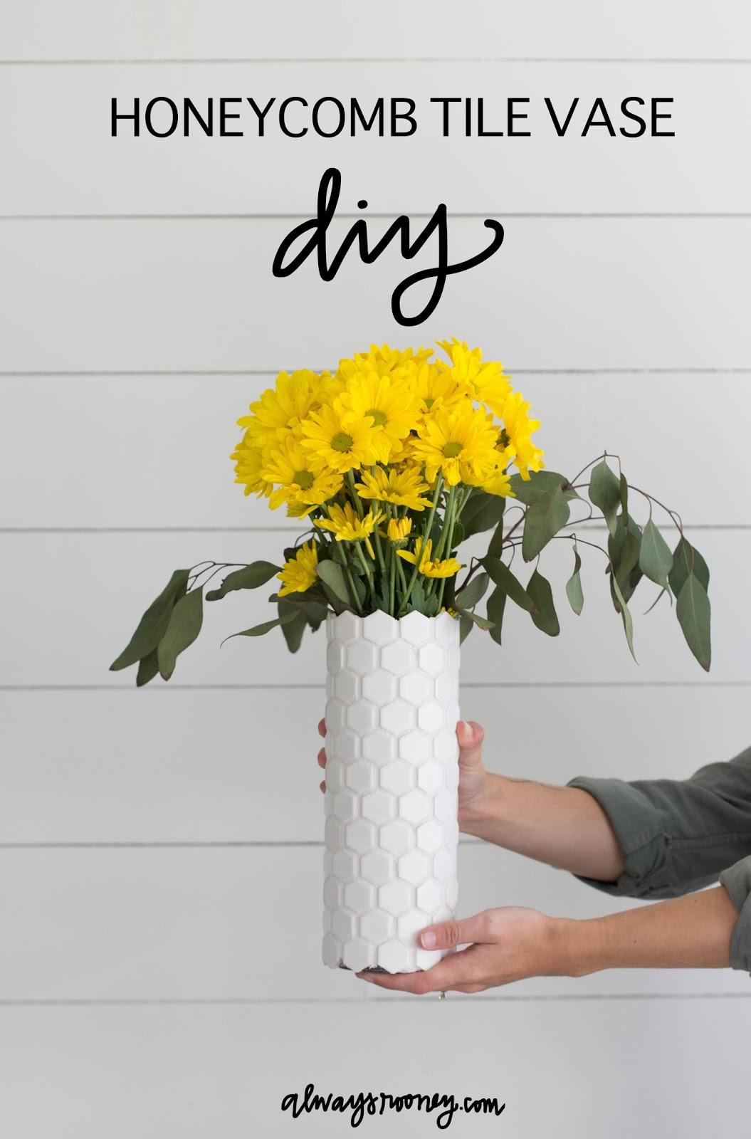 DIY Honeycomb Geometric Flower Vase with Leftover Tile Sheets