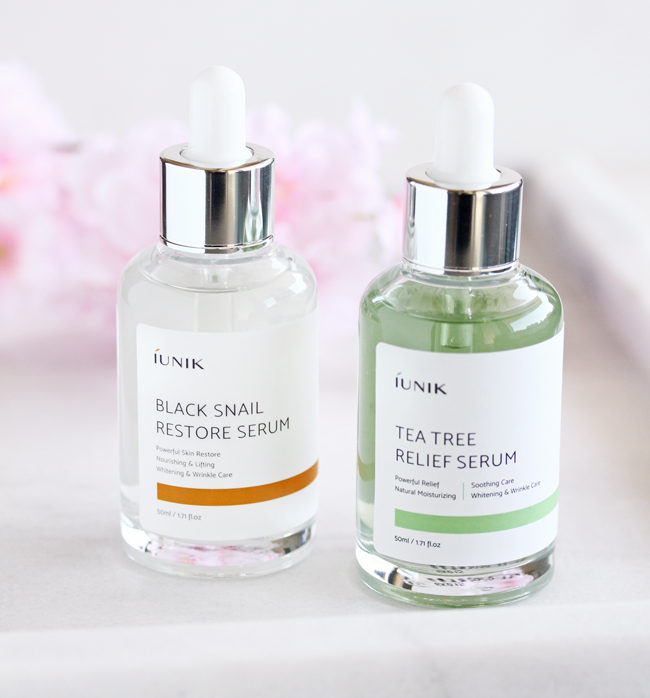 iUNIK Skincare, iUNIK Review,  iUNIK Tea Tree Relief Serum, iUNIK Black Snail Recovery Serum
