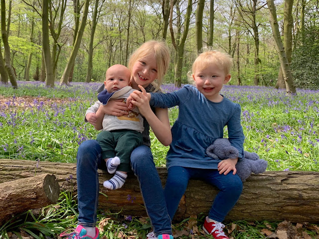 2 girls and a baby boy sitting on a log in front of bluebells in Wanstead park