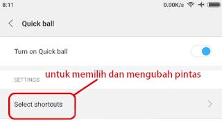 Cara Mengaktifkan fiur Quick Ball