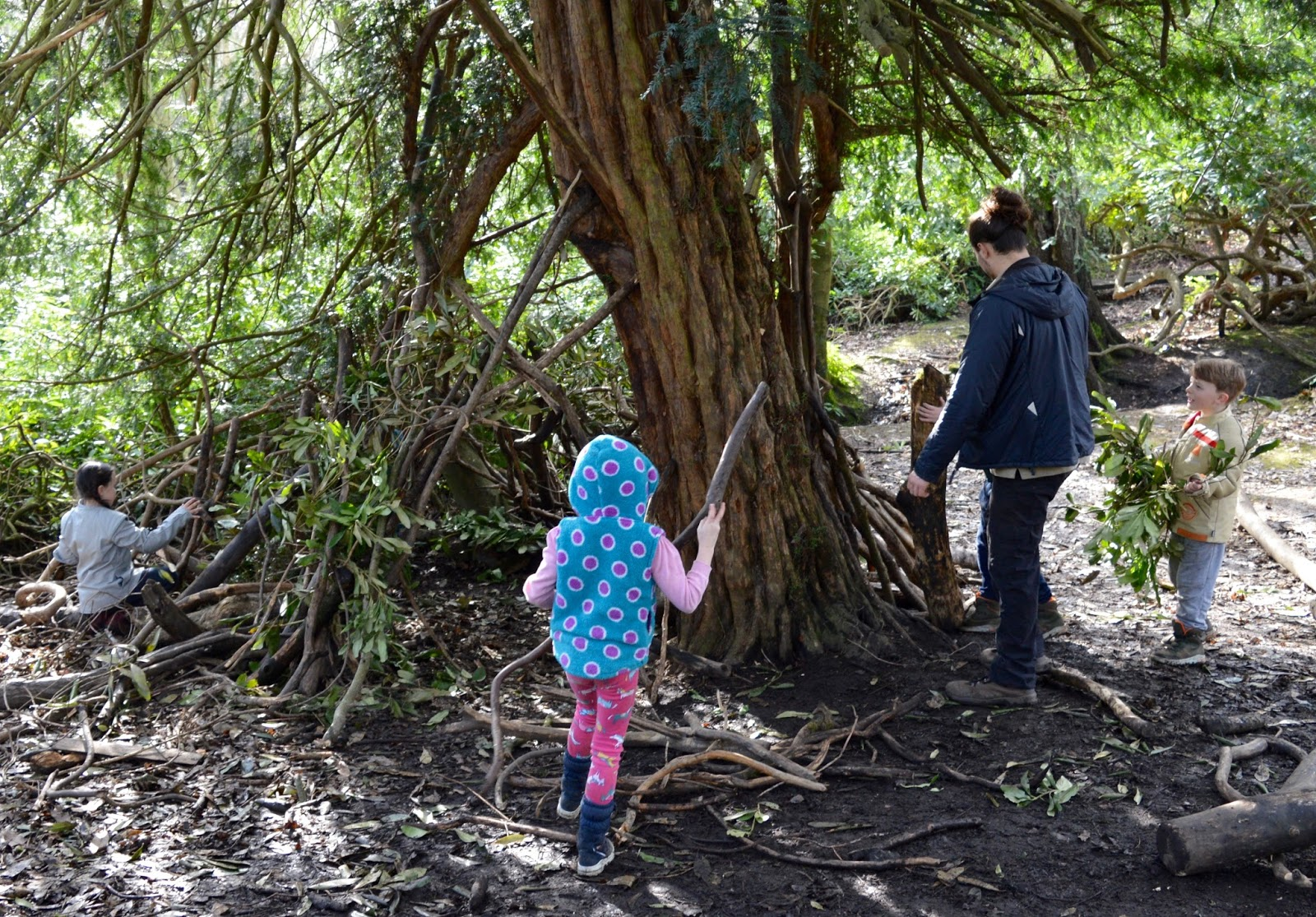 Beamish Wild   School Holiday Club & Activities in County Durham   North East England - den building in woods