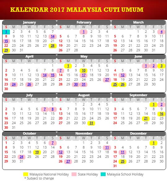 Kalendar Cuti Sekolah Dan Cuti Umum 2017 Malaysia