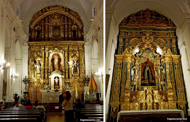 Altares barrocos da Igreja do Pilar, na Recoleta, em Buenos Aires