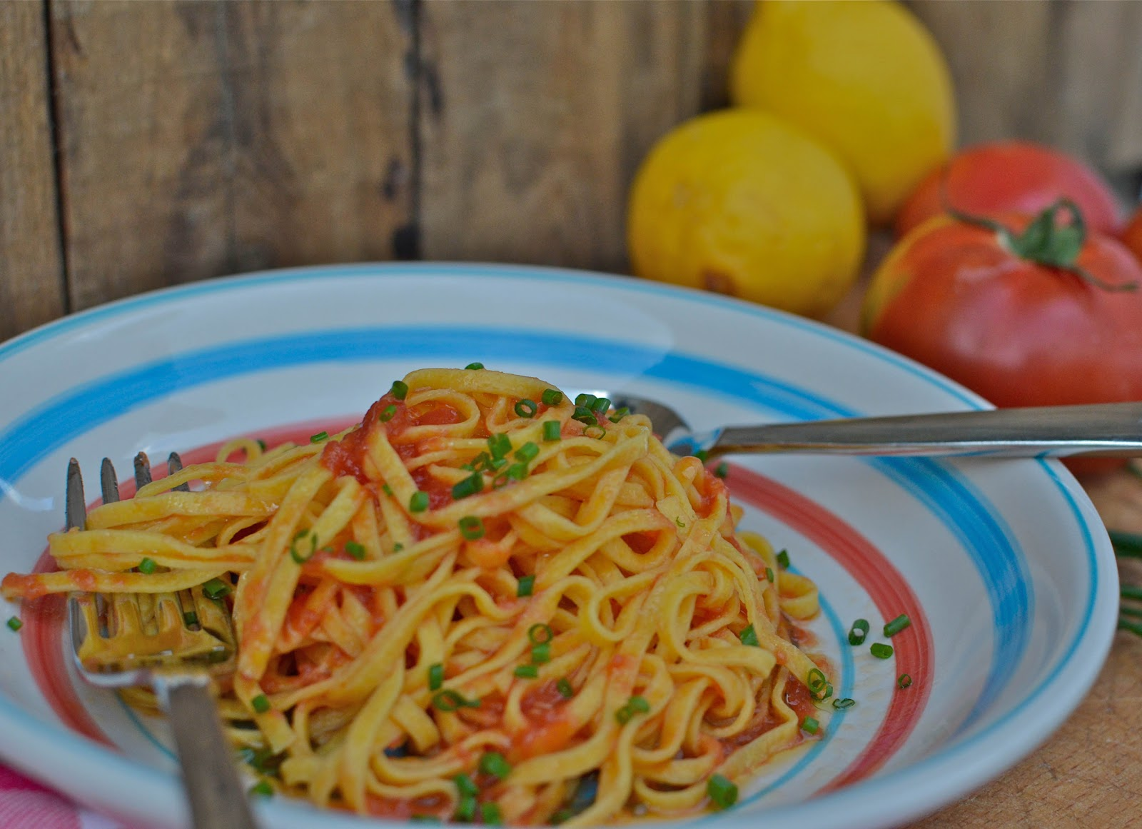 Pasta With Raw Tomatoes Lemon Infused Olive Oil Recipes Recipe