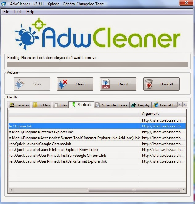 Remove Webssearches AdwCleaner