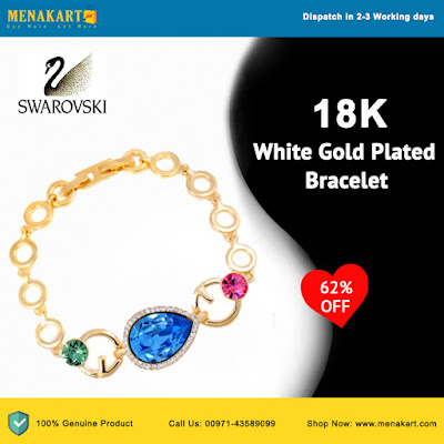 Swarovski Elements 18K White Gold Plated Bracelet For Women (SWR-481)