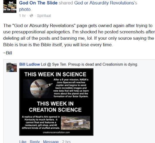 Atheist Page 'God on the Slide' VS 'God or Absurdity Revolutions'