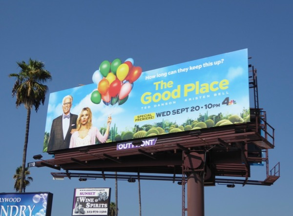 Good Place season 2 cut-out billboard