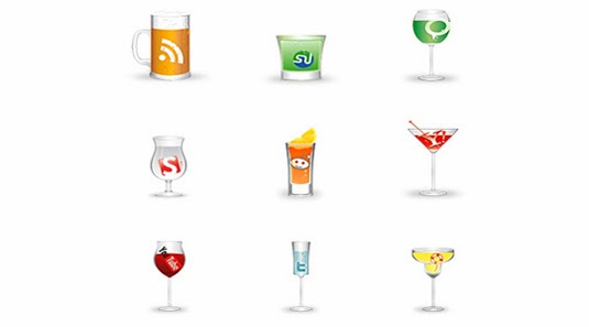 glass shape social icon set