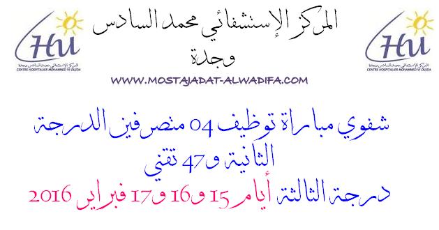 المركز الإستشفائي محمد السادس وجدة شفوي مباراة توظيف 04 متصرفين الدرجة الثانية و47 تقني درجة الثالثة أيام 15 و16 و17 فبراير 2016