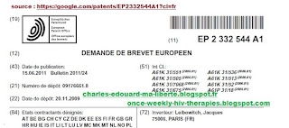 Leibowitch patent brevet US20120270828   EP2332544 US9101633 B2 once weekly hiv