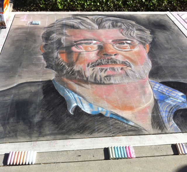 Chalk Drawing Of George Lucas