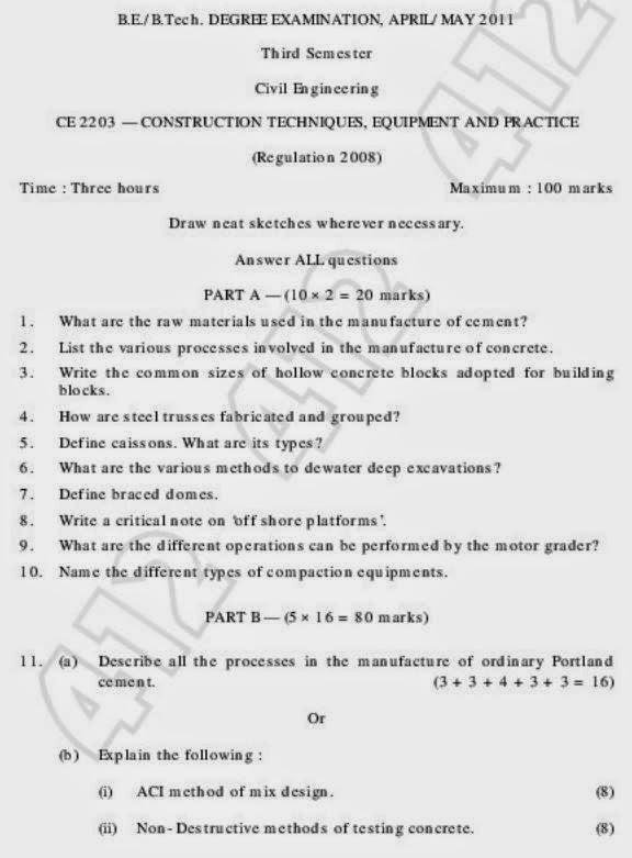 CE2203 Construction Techniques Equipments and Practice question paper