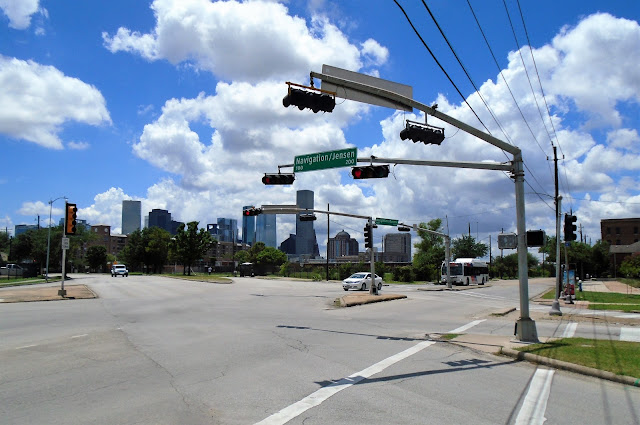 Intersection of Navigation, Runnels, and Jensen with Downtown Skyline