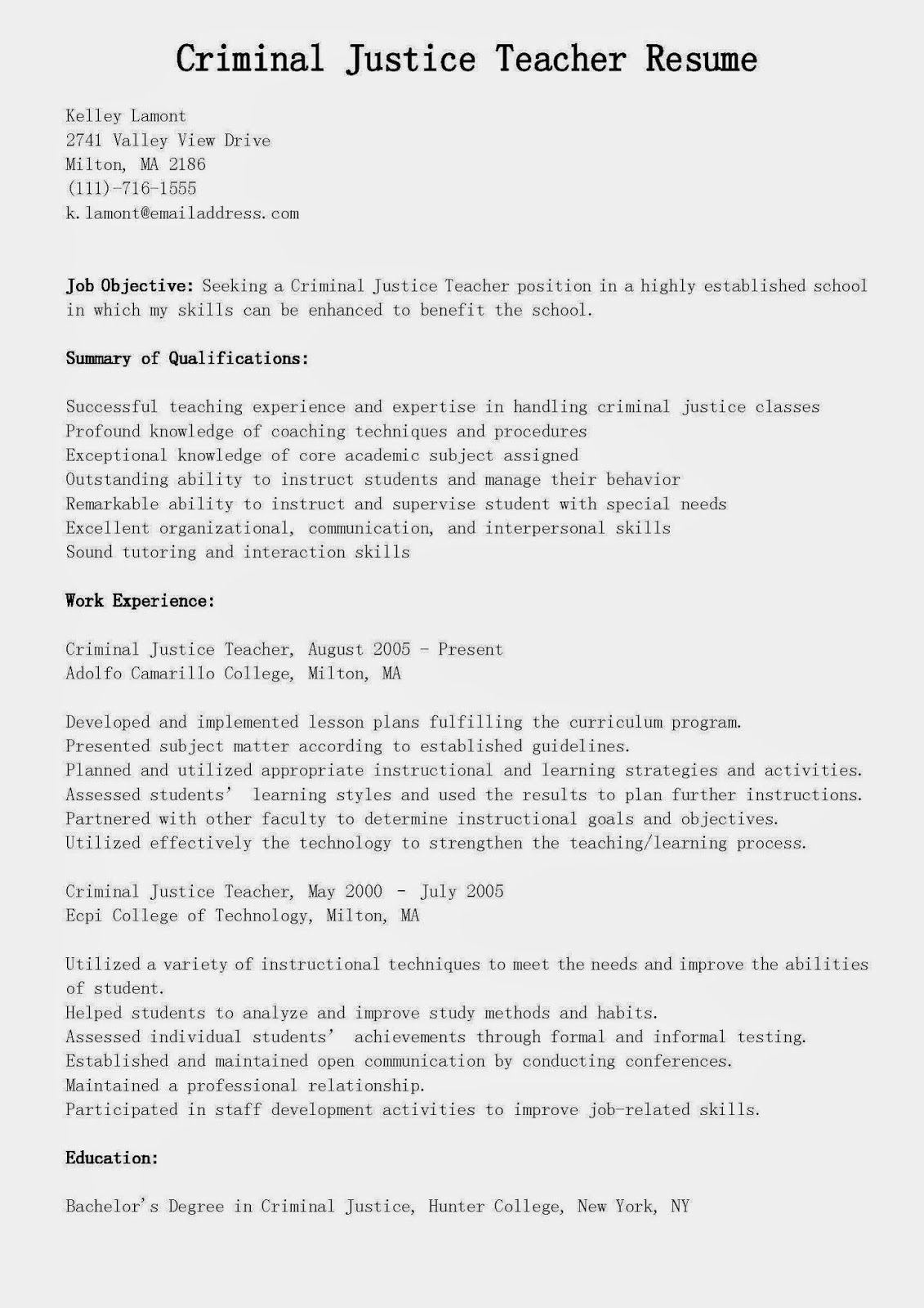 Resume Samples Criminal Justice Teacher Resume Sample