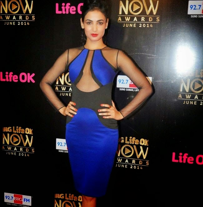 Sonal Chauhan horglass figure in See Through Blue Dress