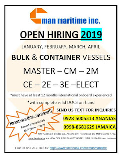 hiring jobs for Filipino seaman crew rank officers, engineers joining onboard January-April 2019 in bulk carrier and container vessels.