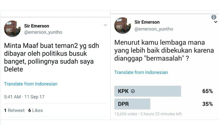 IH-CE-MEN!! Hasil Polling Mengecewakan, Anggota ICW Maki Netizen Lalu Hapus Twit