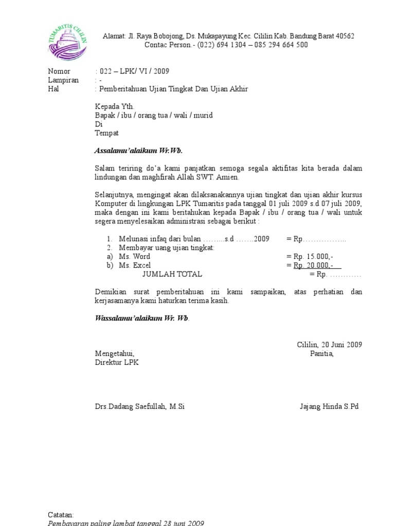 Contoh Surat Pemberitahuan Pembayaran Iuran Sekolah