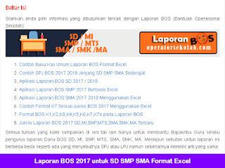 Laporan BOS 2017 untuk SD SMP SMA Format Excel