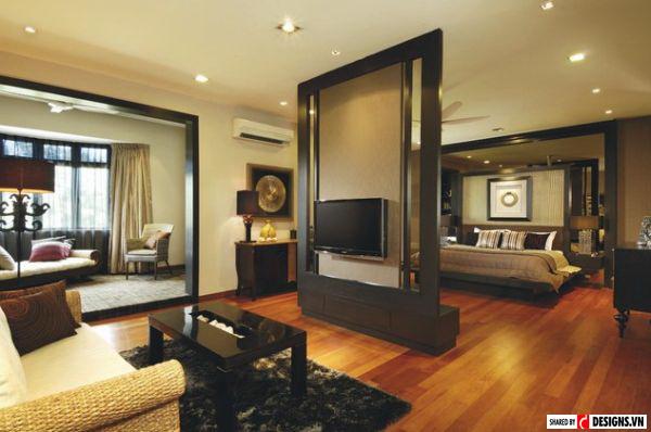 10 ý tưởng tường hiện đại ngăn không gian phòng ngủ