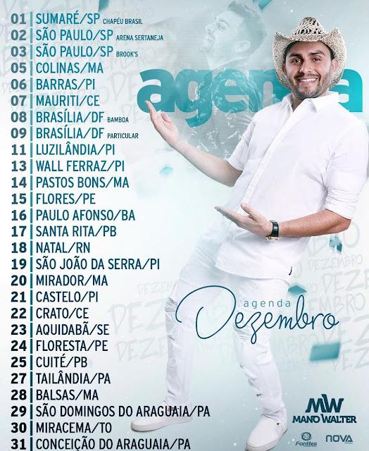 Agenda de Shows cantor Mano Walter Dezembro  - 2017