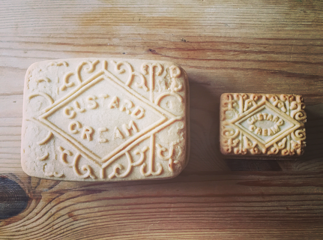 Giant Custard Cream biscuit vs. normal Custard Cream biscuit