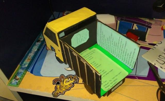 miniatur truk dari kardus bekas